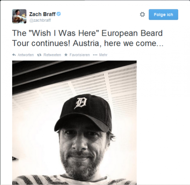 Zach Braff auf Promotour für seinen Film Wish I was here
