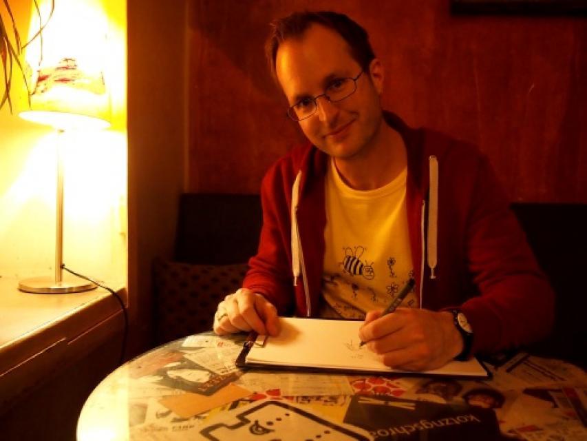 Cartoonist Michael Dufek al