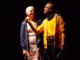 Nicole Fouche und Anthony Clair Wagner bei den Proben zum Theaterstück Transgender Moves im brut, Wien