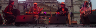 Ernst Molden, Willi Resetarits, Hannes Wirth und Walther Soyka am Popfest 2014 (Karlsplatz, Wien)