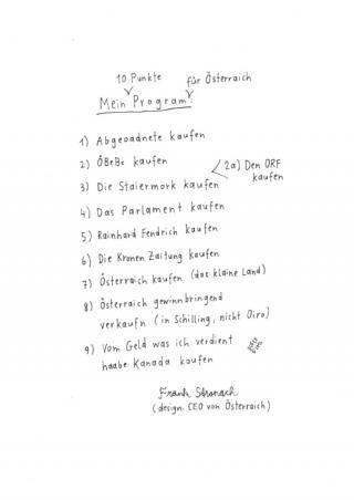 10 Punkteprogramm von Stronach